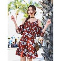 波西米亚度假沙滩裙高腰吊带连衣裙V领荷叶袖碎花短裙新 图片色