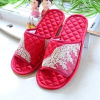 红色结婚托鞋情侣居家室内木地板牛筋底喜庆软底舒适防滑布艺拖鞋