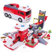 警消防车停车场合金工程变形收纳轨道汽车儿童玩具男孩益智