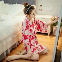 2018新款日系睡衣女春夏季纯棉睡裙性感日式和服甜美可爱汗蒸服韩版家居服