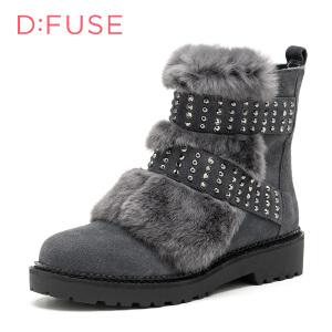 【星期六集团大牌日】D:Fuse/迪芙斯冬季牛反绒兔毛圆头粗跟舒适短靴女鞋DF64117269