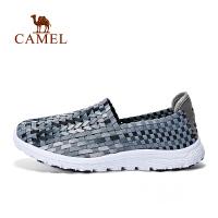 camel骆驼户外休闲鞋 男款松紧织带透气轻便套脚鞋男