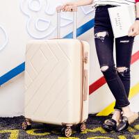 红色旅行箱结婚拉杆箱子母箱行李箱嫁妆箱子女万向轮皮箱包 奶白色 菱格单只