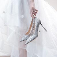 舒适好看!时尚新品银色水晶婚鞋女2018新款冬季尖头单鞋高跟鞋女秋冬新娘鞋细跟结婚青春靓丽