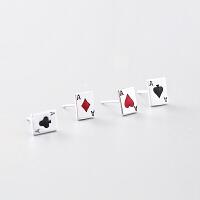 手工创意扑克牌耳钉耳环简饰品女