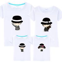 夏装新款纯棉沙滩亲子装一家三四口全家装母女装短袖T恤卡通