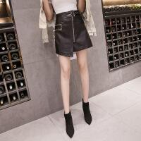秋冬高腰拉链皮裙半身裙大口袋2018新款a字裙子黑色显瘦pu小皮裙 黑色