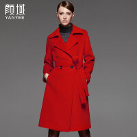 颜域品牌女装2017秋冬新款欧美西装领修身中长款绑带毛呢外套大衣