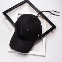 2018王嘉尔同款帽子女黑白色棒球帽男士潮流个性系带嘻哈帽鸭舌帽 可调节