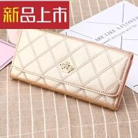 女生钱包 新款韩版3折皮时尚手拿包拉链皇冠零钱包