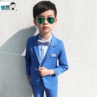 春季儿童小西装套装 男童礼服 春秋款韩版宝宝西服主持人花童套装 浅蓝色+浅蓝色衬衫 加银色领结