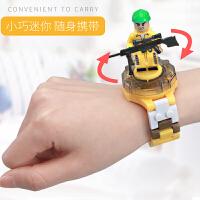 积木拼插旋转手表玩具 小巧迷你便携时间日期秒表多功能人物公仔武器装备3岁以上