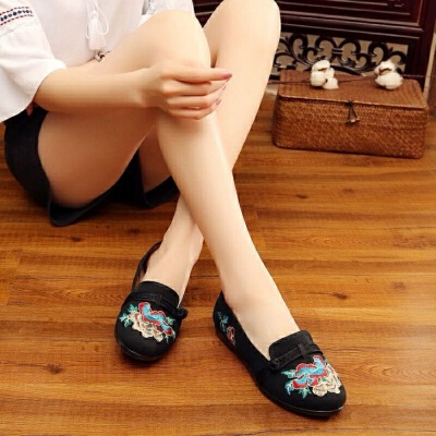 老北京布鞋绣花鞋女民族风软底广场舞蹈鞋浅口一脚蹬孕妇鞋 H68黑色 H68黑色