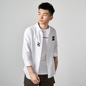 唐狮原创口袋卡通动物图案刺绣白衬衫早秋男士休闲牛津纺长袖衬衫
