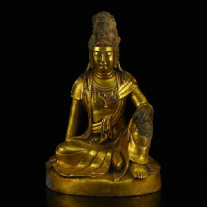 精工全黄铜打造自在观音摆件