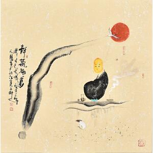 中国国际书画协会会员天语67 X 67CM人物画gr01389