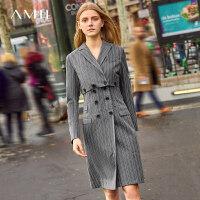 【预估价408元】Amii极简法国小众设计感两件套连衣裙2019秋新条纹西装外套背心裙