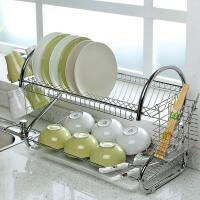 碗碟架2层沥水架碗盘储物架双层晾碗架厨房置物架放碗筷收纳架子