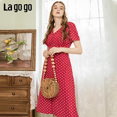 【5折价260.5】Lagogo2019夏新款波点裙红色V领法式复古高腰连衣裙女IALL304G15