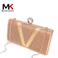 莫尔克(MERKEL)新款时尚欧美女链条手拿晚宴包新娘结婚包水钻亮片手包