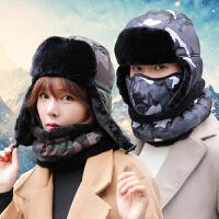 雷锋帽子男冬季保暖户外骑车帽口罩围脖帽套装