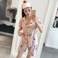 夏季2018韩版宽松印花短袖上衣+睡裤短裤睡衣家居服套装女