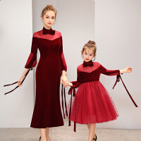 亲子装走秀表演儿童礼服主持人晚礼服钢琴演出服女童公主裙冬