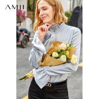 【领券下单立减120元】Amii极简设计感小众立领长袖衬衫女2019秋新款灯笼袖宽松洋气上衣