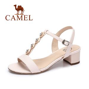 camel骆驼女凉鞋 夏季新品时尚简约凉鞋女 甜美百搭方跟凉鞋