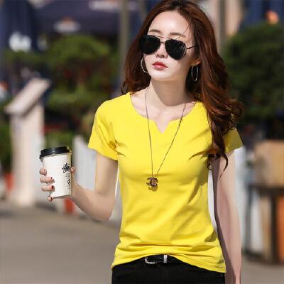 春夏新款韩版女装上衣白色短袖女t恤韩版V领纯色体恤夏季小衫WK7082