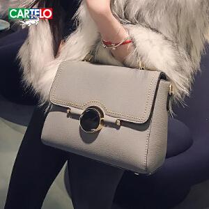 卡帝乐鳄鱼2018新款女包个性时尚手提包简约单肩斜挎包百搭小包包