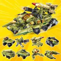 启蒙积木兼容乐高雷霆远征战车8合1超集变 3-6岁+男孩礼物益智拼插玩具