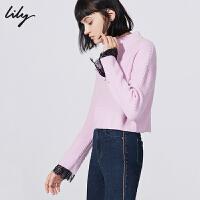 【超品日秒杀价139元】 Lily春新款女装蕾丝拼接H型短款毛衣毛针织衫118430B8735