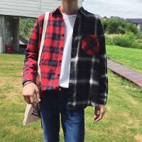 秋冬秋季长袖韩版男士衬衣尖领常规长袖衬衫个性工作服理发店衬衫