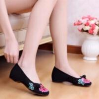 新款老北京布鞋女鞋牛筋底隐形内增高布鞋民族风布鞋绣花鞋女单鞋
