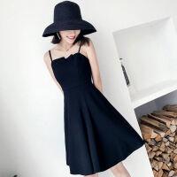 2019流行夏天心机小黑色长裙子韩版很仙的法国小众吊带连衣裙 S 建议98斤内
