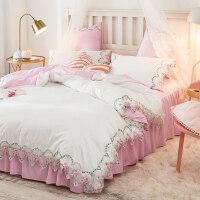 ins简约床上四件套网红少女心双人床单被套被罩1.8m米床笠三件套4 2.0米床 床单款四件套(适合220*240的被