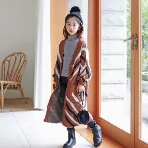 中长款女童毛衣开衫灯笼袖针织毛外套亲子装毛衣