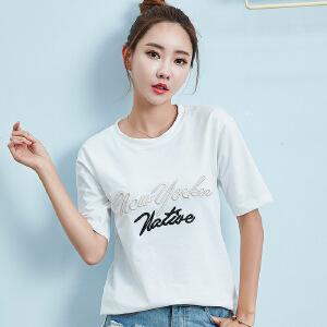 卡茗语新款短袖t恤女宽松韩版夏装纯棉圆领学生半袖上衣百搭大码体恤衫