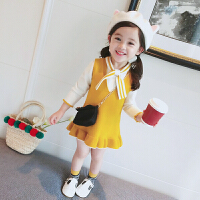 小童淑女套装小香风无袖背心裙子+长袖针织衫上衣宝宝两件套