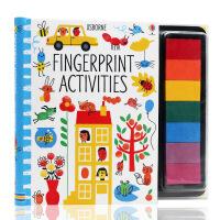 英文原版绘本Fingerprint Activities 儿童手指画动物元素Usborne出品 螺旋印画活动书 低幼儿