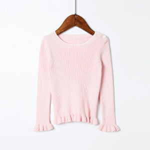 全织时代女童圆领套头2017新款韩版儿童毛衣女秋冬针织打底衫纯棉