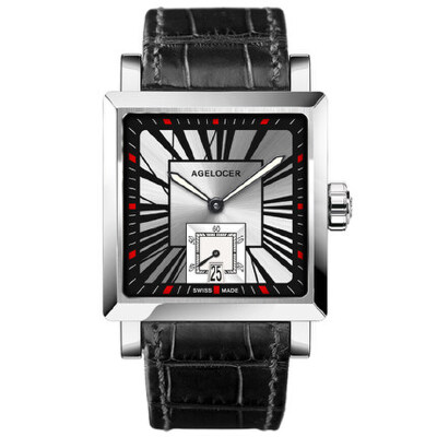 Agelocer艾戈勒时尚男士全自动机械表方形男表皮带真皮手表男1支持七天无理由退换货,零风险购