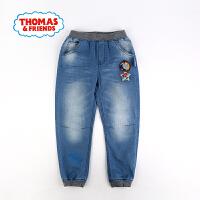 【一件5折】托马斯正版童装男童春装牛仔裤织章中大童男宝宝束脚裤子长裤裤子
