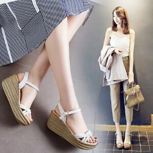 2018ZHR夏季新款麻花辫学生厚底凉鞋一字金属露趾坡跟休闲鞋高跟女鞋V29