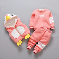 男女宝宝秋冬装卫衣套装婴儿衣服棉衣三件