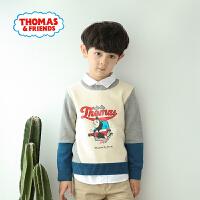 【一件5折】托马斯正版童装男童春装时尚长袖圆领拼色毛衣针织衫