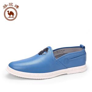 骆驼牌男鞋 春季新品男士 日常休闲皮鞋舒适套脚低帮男鞋子
