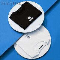 太平鸟男装 夏季新品短袖T恤男士黑白半袖纯棉体恤印花上装潮流
