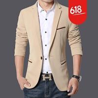秋季西服男韩版修身型青年休闲加肥加大西装正装纯色薄款上衣外套NS02 米色 1419